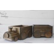 Trem e vagão em madeira