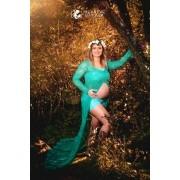 Vestido Alice em Renda Verde sem forro