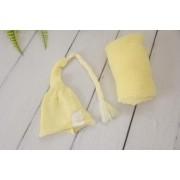 Wrap Soft e Touca Sonequinha Amarelo Bebê