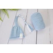 Wrap Soft e Touca Sonequinha Azul Bebê