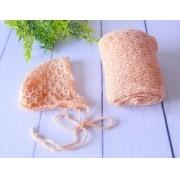 Wrap Textura e Touca Pêssego