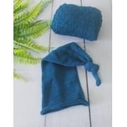 Wrap Textura e Touca Soneca Azul França