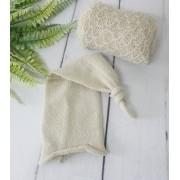 Wrap Textura e Touca Soneca Bege
