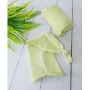 Wrap Textura e Touca Soneca Verde aloe