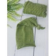Wrap Textura e Touca Soneca Verde musgo