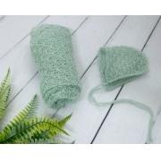 Wrap Textura e Touca Verde platina