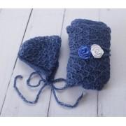 Wrap Textura Touca e Headband Azul tirreno