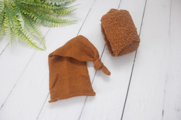 Wrap Textura e Touca Soneca Terracota