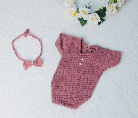 Body Japonesa e Headband Newborn Rosa seco