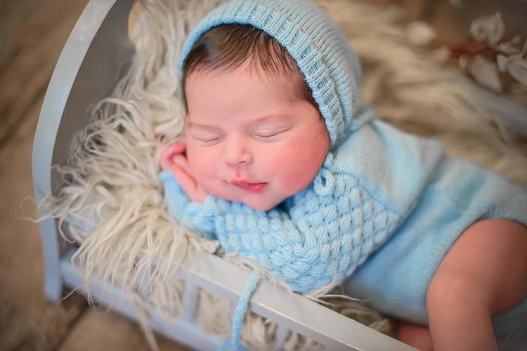 Body Longo e Touca Azul bebê