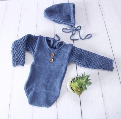 Body Longo e Touca Newborn Azul