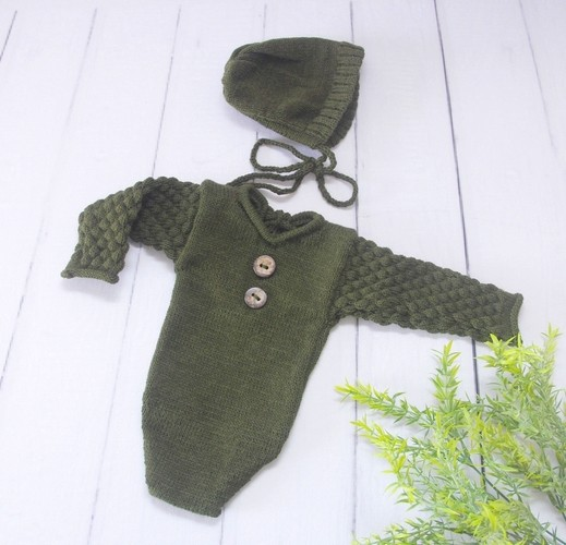 Body Longo e Touca Newborn Militar