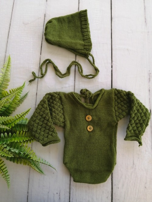Body Longo e Touca Newborn Verde musgo