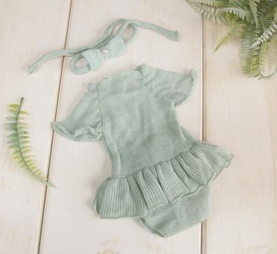 Body Vestido Cecília Newborn Verde platina
