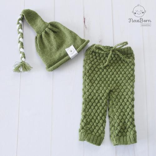Calça e Touca Sonequinha Newborn Verde musgo