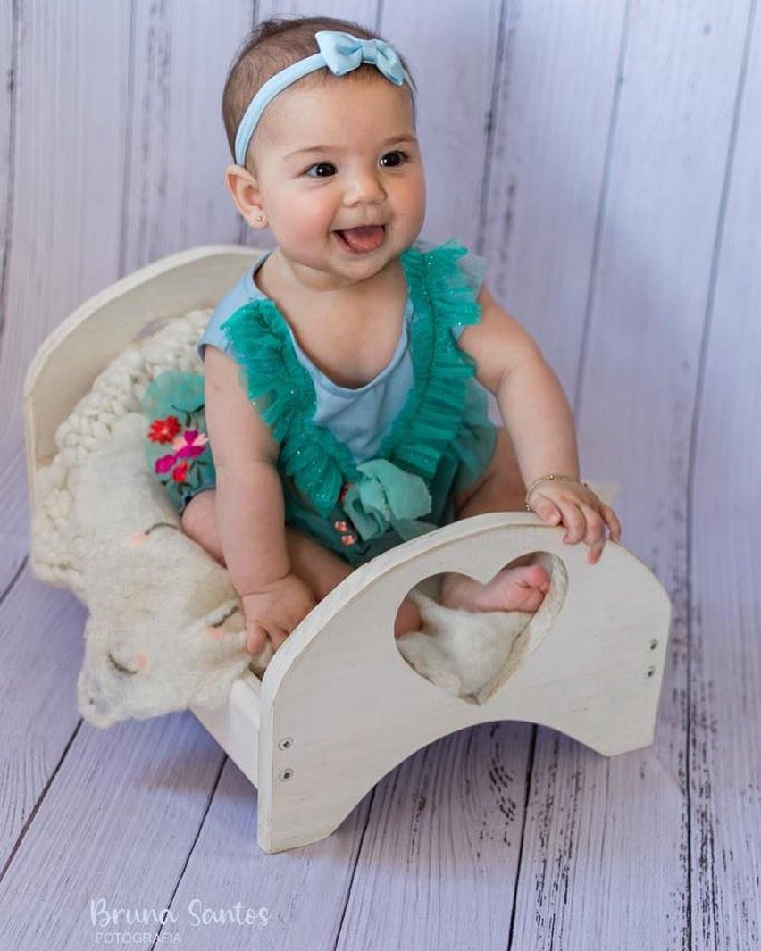 Caminha e Criadinho Coração Branco Pátina Newborn E Acompanhamento