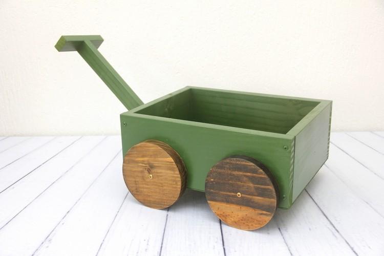 Carrinho de Madeira Vintage Verde Pinheiro