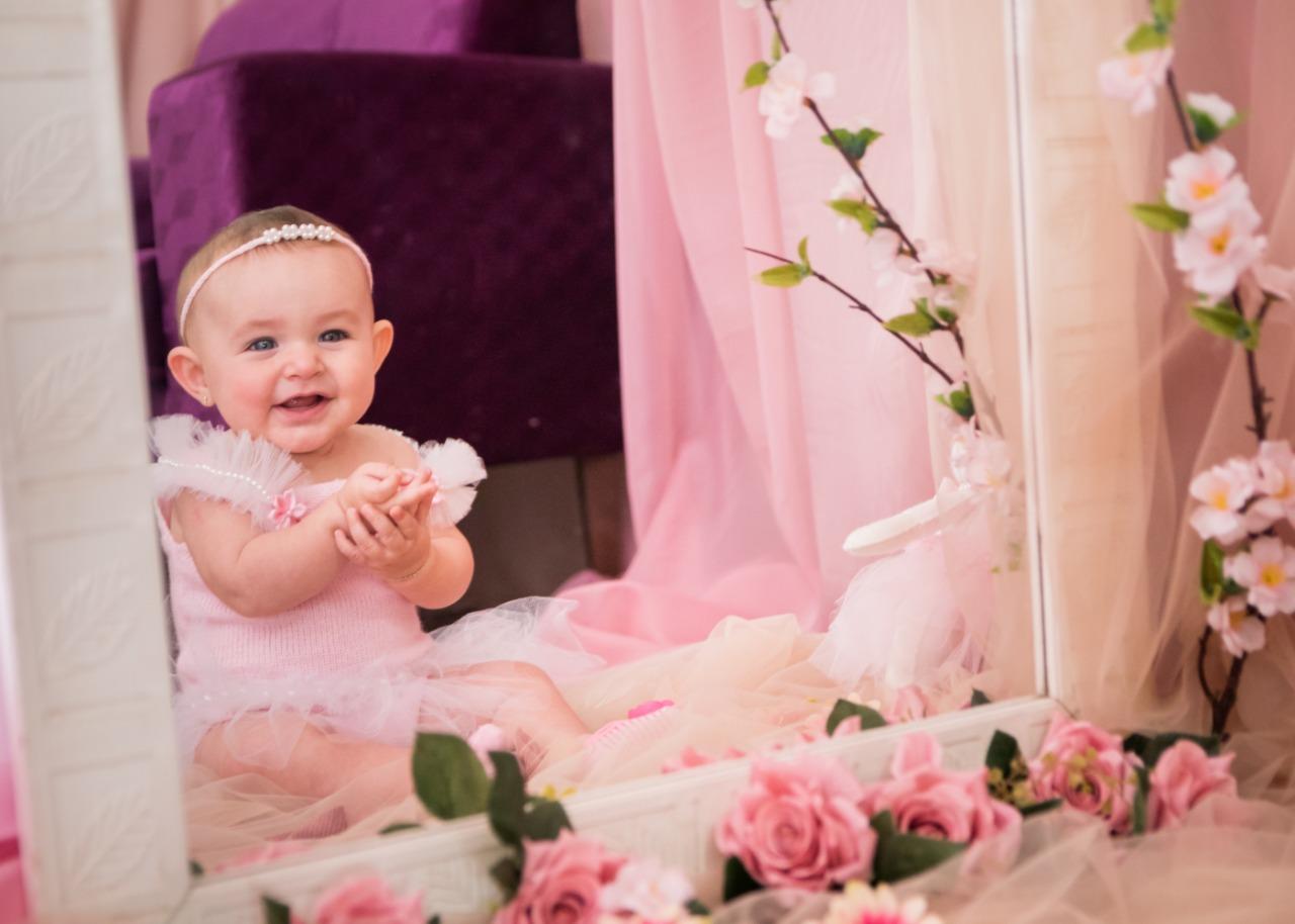 Conjunto Bia: Body, saia e Headband Pérola Rosa bebê