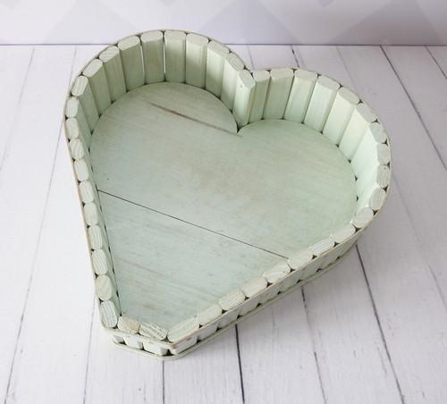 Tina De Madeira Coração Verde Pátina