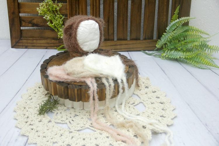 Touca Ursinho Angorá Newborn - Diversas Cores