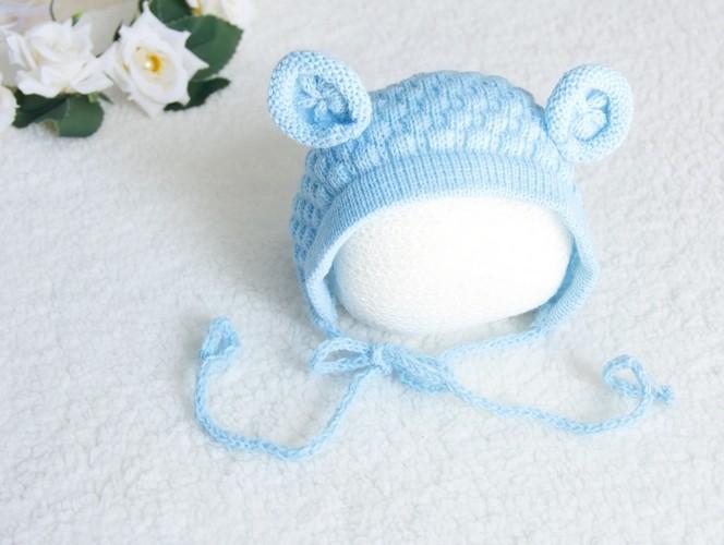 Touca Ursinho Azul Bebê