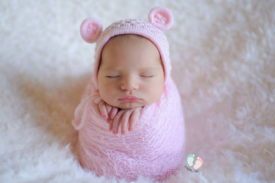 Touca Ursinho Rosa bebê