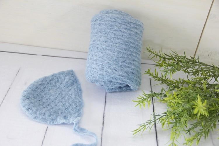 Wrap e touca Mohair Azul