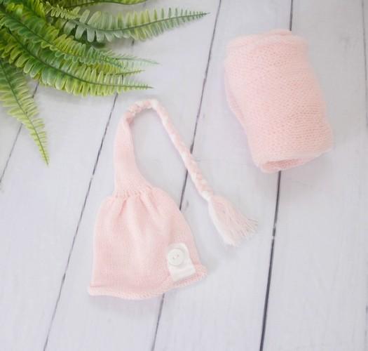 Wrap Soft e Touca Sonequinha Rosa bebê