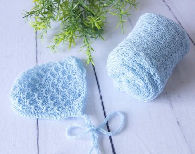 Wrap Textura e Touca Azul bebê