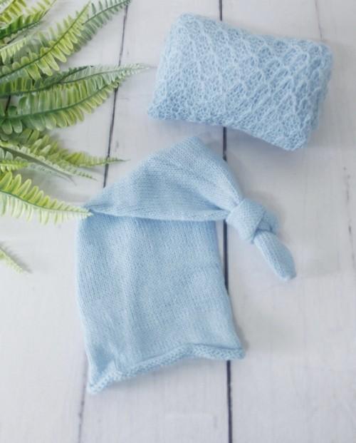 Wrap Textura e Touca Soneca Azul Bebê