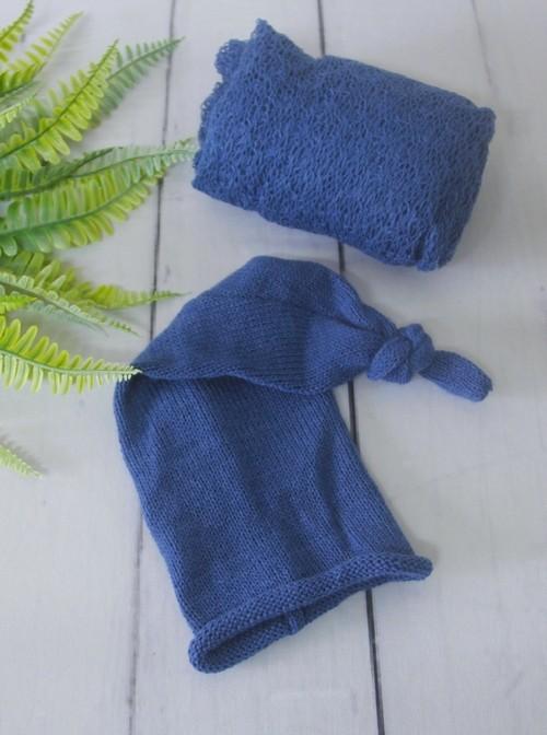 Wrap Textura e Touca Soneca Azul Tirreno