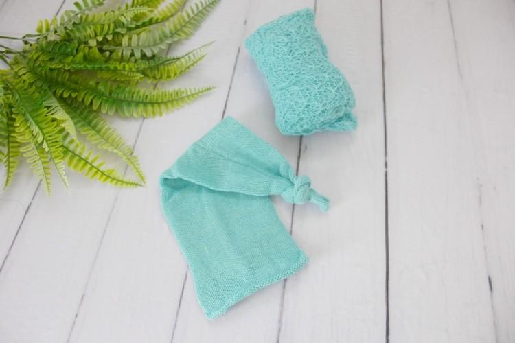 Wrap Textura e Touca Soneca Verde Menta