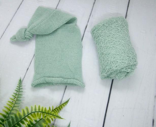 Wrap Textura e Touca Soneca Verde platina