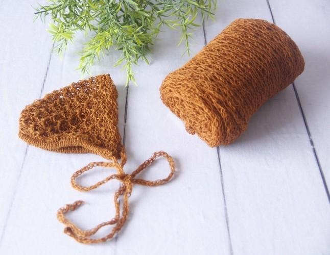 Wrap Textura e Touca Terracota
