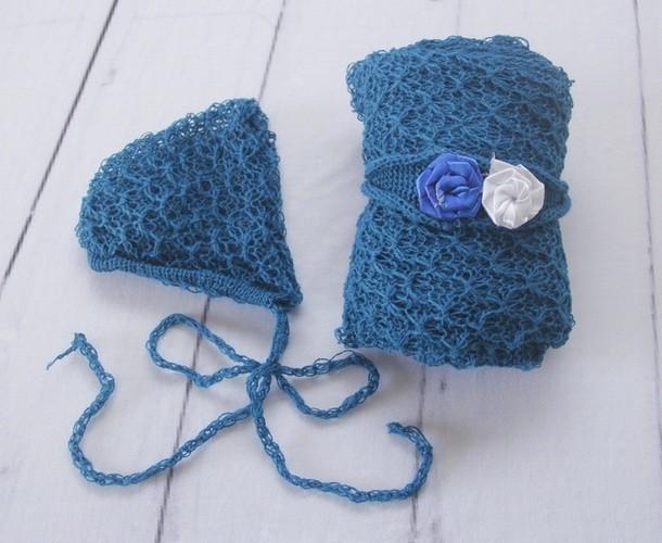 Wrap Textura Touca e Headband Azul França