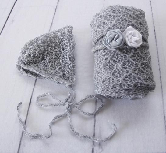 Wrap Textura Touca e Headband Cinza