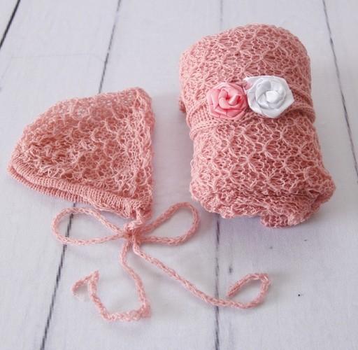 Wrap Textura Touca e Headband Rosa chá