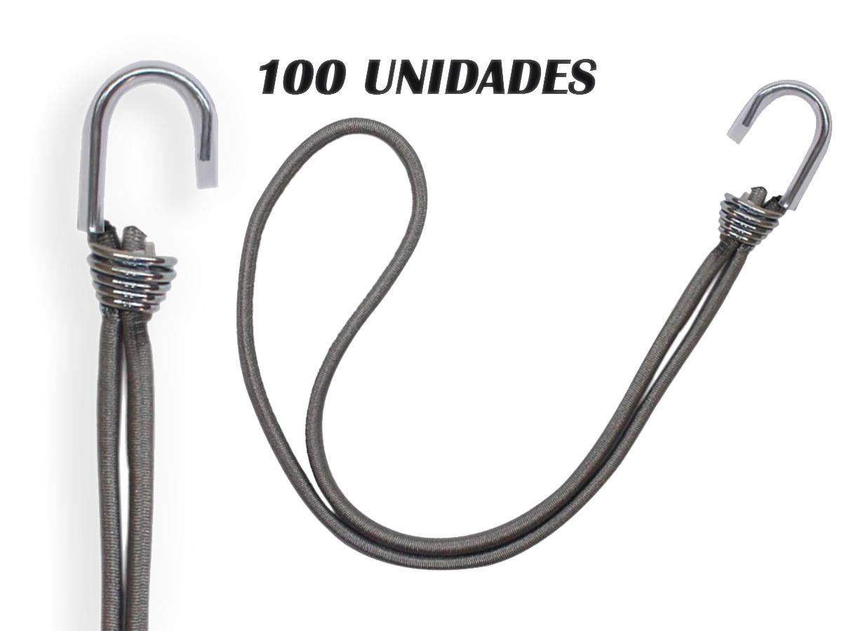 100 ELASTICO EXTENSOR GANCHO METAL P/LONA DE CAMINHÃO CINZA