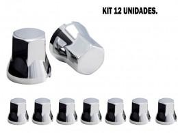KIT 12 CAPAS DE PORCA CROMADA 27 MM
