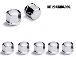 KIT 20 CAPAS DE PORCA CROMADA 19 MM