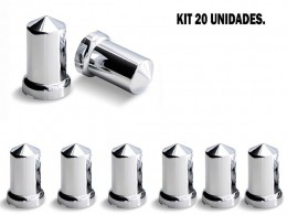KIT 20 CAPAS DE PORCA CROMADA MEXICANA 32 MM