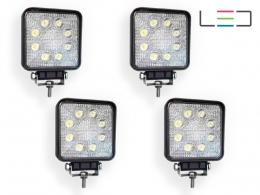 KIT 4 FAROL AUXILIAR LED QUADRADO 9 LEDS 27W 12/24 VOLTS