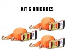 KIT COM 6 CATRACA + 6 CINTA AMARRAÇÃO 3 TONELADAS 9 METROS