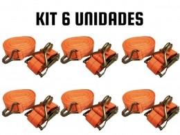 KIT COM 6 CATRACA + 6 CINTAS AMARRÇÃO 1,5 TONELADAS 9 METROS