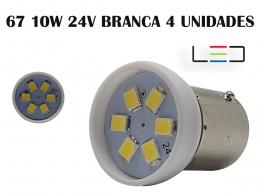 LÂMPADA LED PARA CARRO VEÍCULOS 24V 67 BRANCO FRIO 4 UNIDADE
