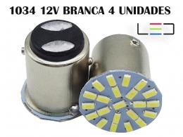 LÂMPADA LED PARA CARROS VEÍCULOS 12V 1034 BRANCO FRIO 4 UNID