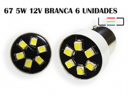 LÂMPADA LED SUPER LED PARA CARRO VEÍCULOS 12V 67 BRANCO 6P