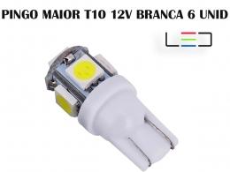 LÂMPADA LED SUPER LED PARA CARRO VEÍCULOS 12V T10 BRANCO 6UN