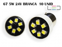 LÂMPADA LED SUPER LED PARA CARRO VEÍCULOS 24V 67 BRANCO 10UN