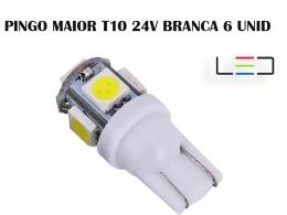 LÂMPADA LED SUPER LED PARA CARRO VEÍCULOS 24V T10 BRANCO 6UN